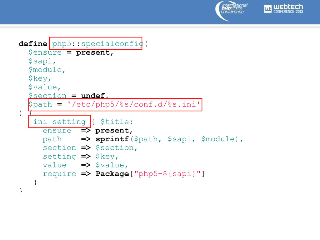 define php5::specialconfig( $ensure = present, ...