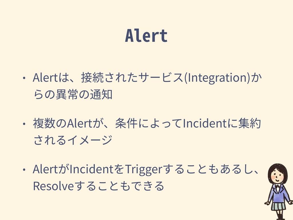 Alert • Alertは、接続されたサービス(Integration)か らの異常の通知 ...