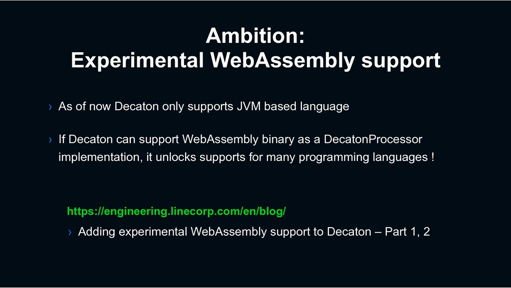 Ambition: Experimental WebAssembly support http...