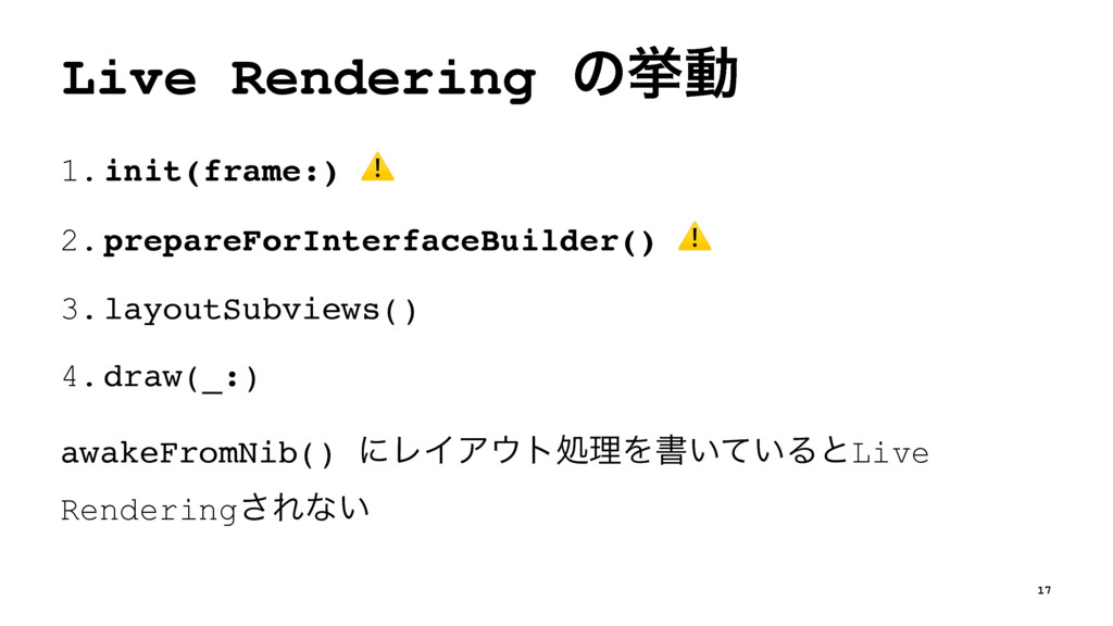 Live Rendering ͷڍಈ 1.init(frame:) ⚠ 2.prepareFo...