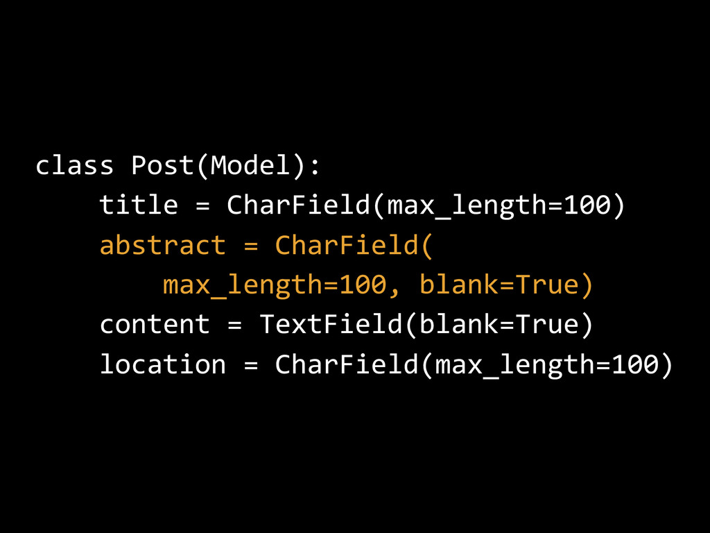 class Post(Model): title = CharField(max_length...