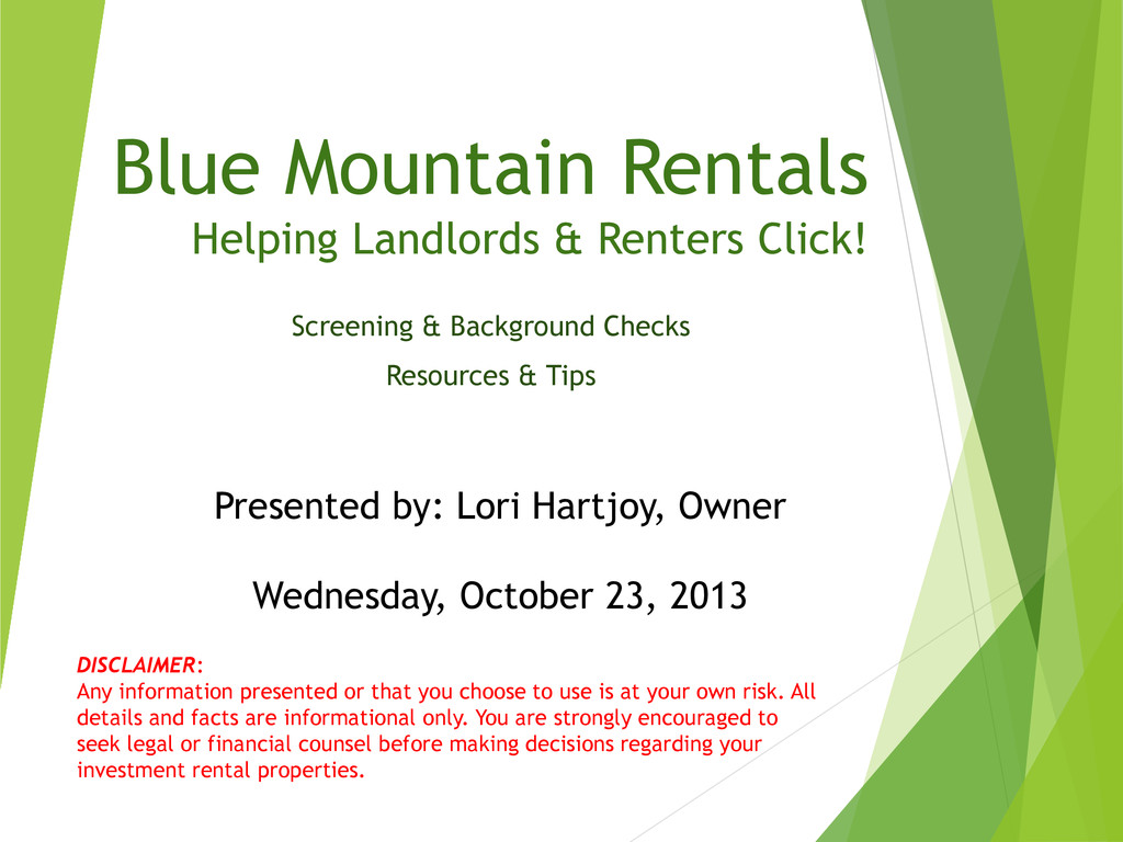 Blue Mountain Rentals Helping Landlords & Rente...