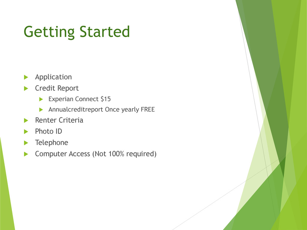 Getting Started  Application  Credit Report ...