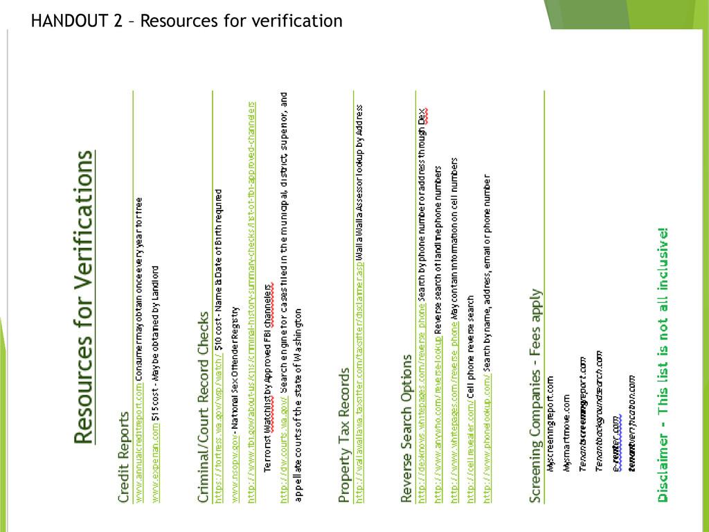 HANDOUT 2 – Resources for verification