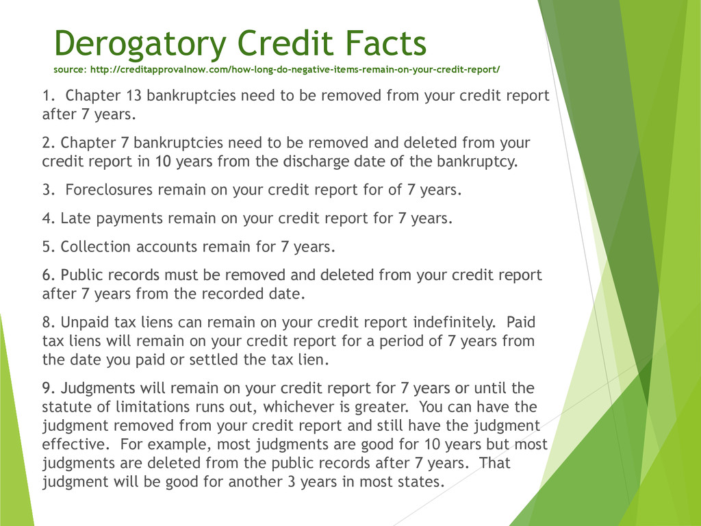 Derogatory Credit Facts source: http://creditap...