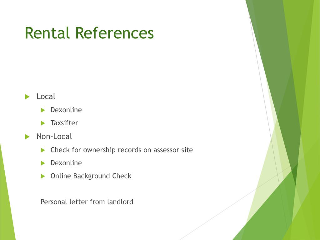 Rental References  Local  Dexonline  Taxsift...
