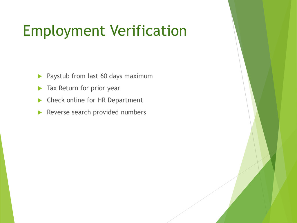 Employment Verification  Paystub from last 60 ...
