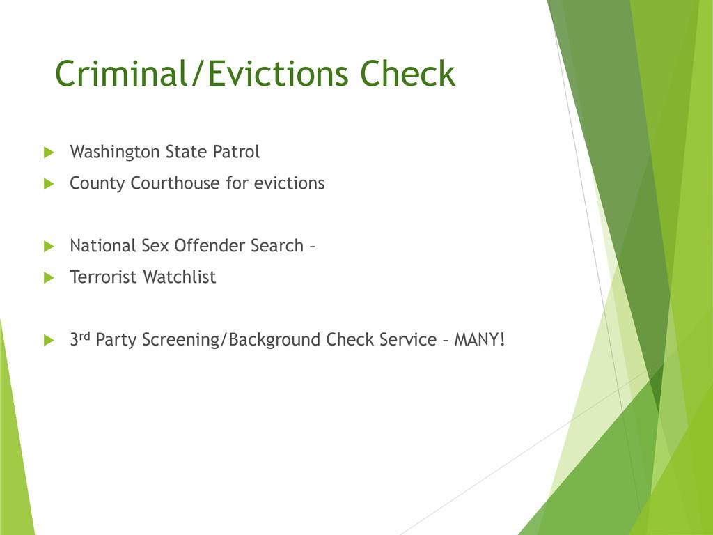 Criminal/Evictions Check  Washington State Pat...
