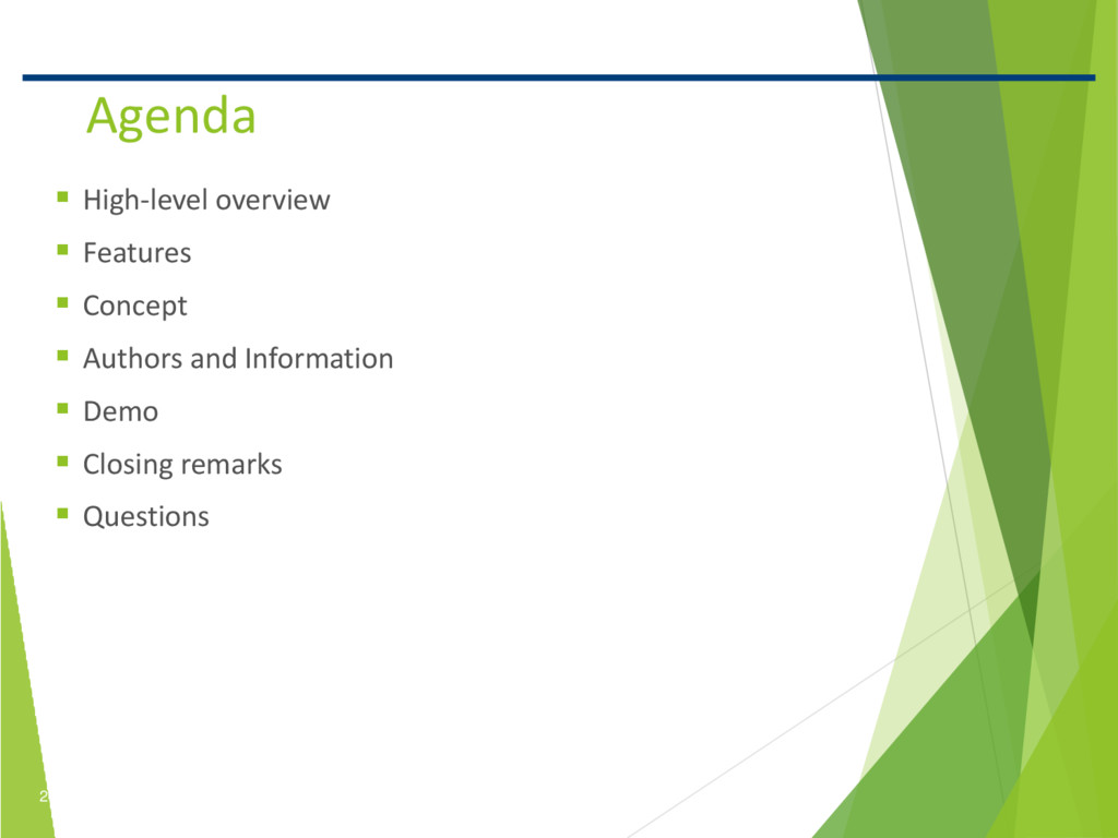 2 Confidential Agenda  High-level overview  F...