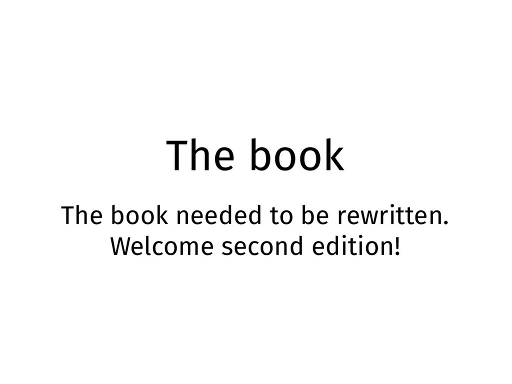 The book The book needed to be rewritten. Welco...