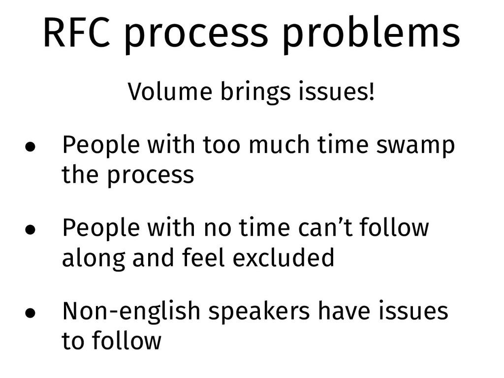 RFC process problems Volume brings issues! • Pe...