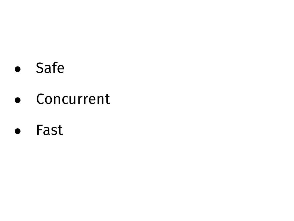 • Safe • Concurrent • Fast