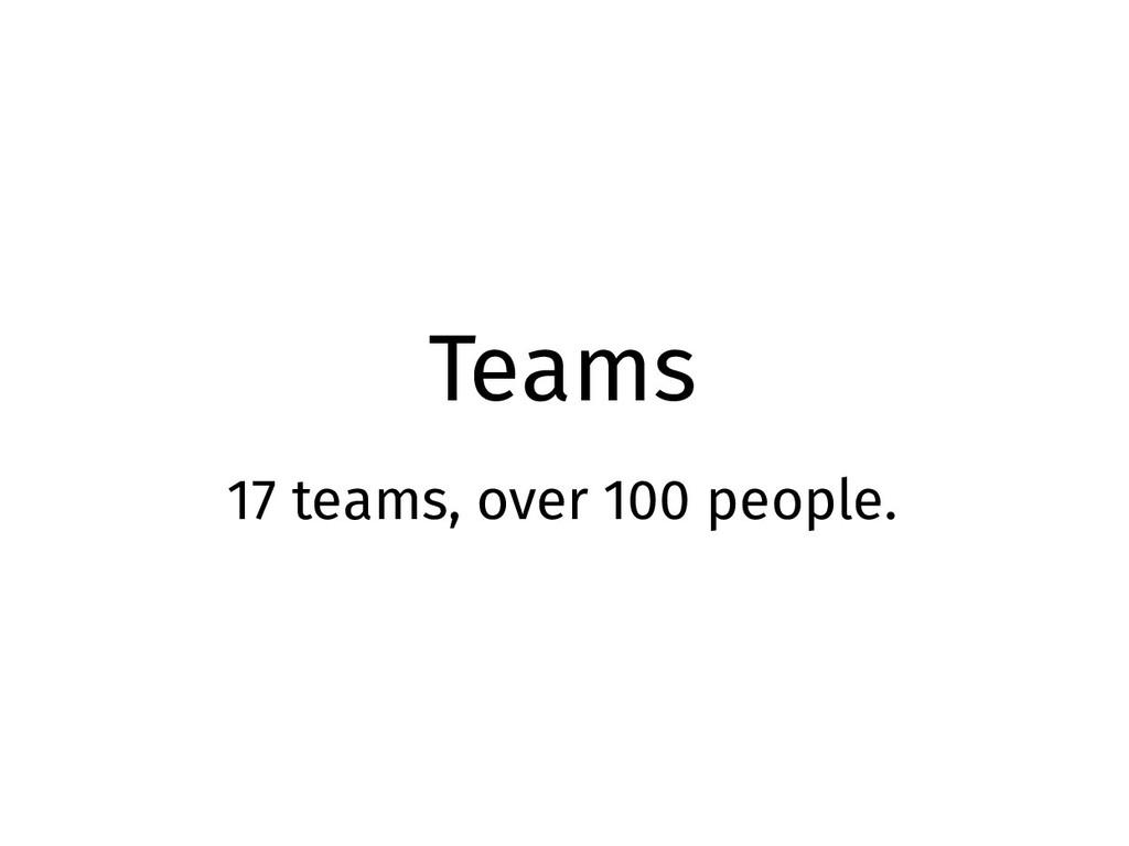 Teams 17 teams, over 100 people.