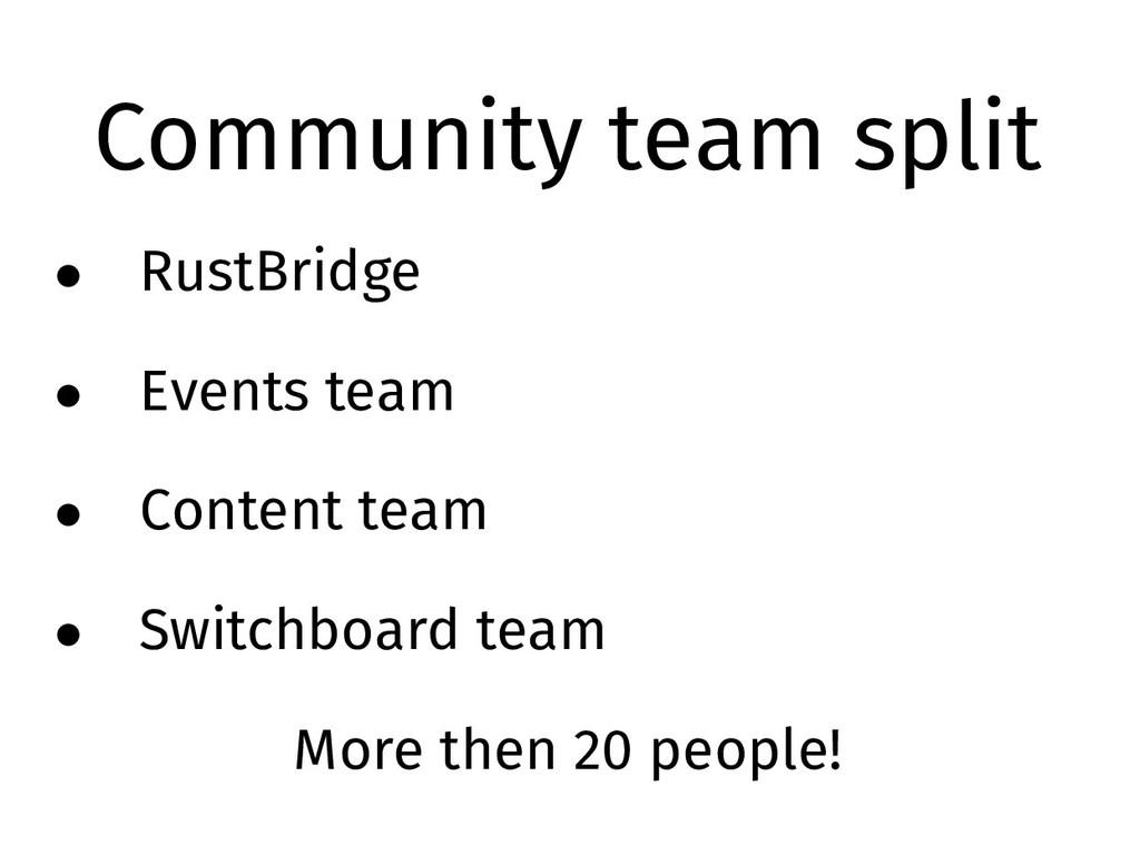 Community team split • RustBridge • Events team...