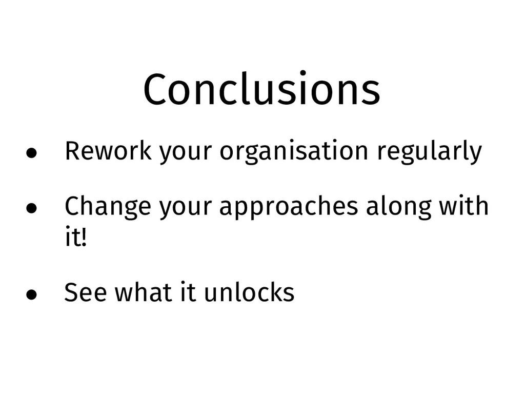 Conclusions • Rework your organisation regularl...