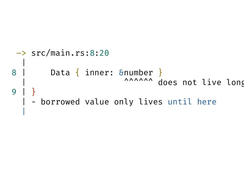 –> src/main.rs:8:20 | 8 | Data { inner: &number...