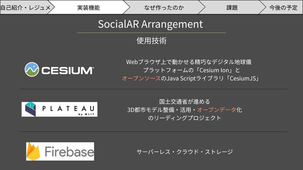 SocialAR Arrangement 使用技術 Webブラウザ上で動かせる精巧なデジタル地...