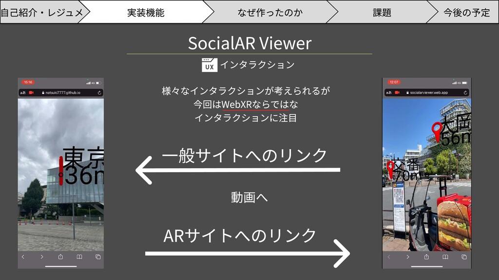 SocialAR Viewer インタラクション 一般サイトへのリンク ARサイトへのリンク ...