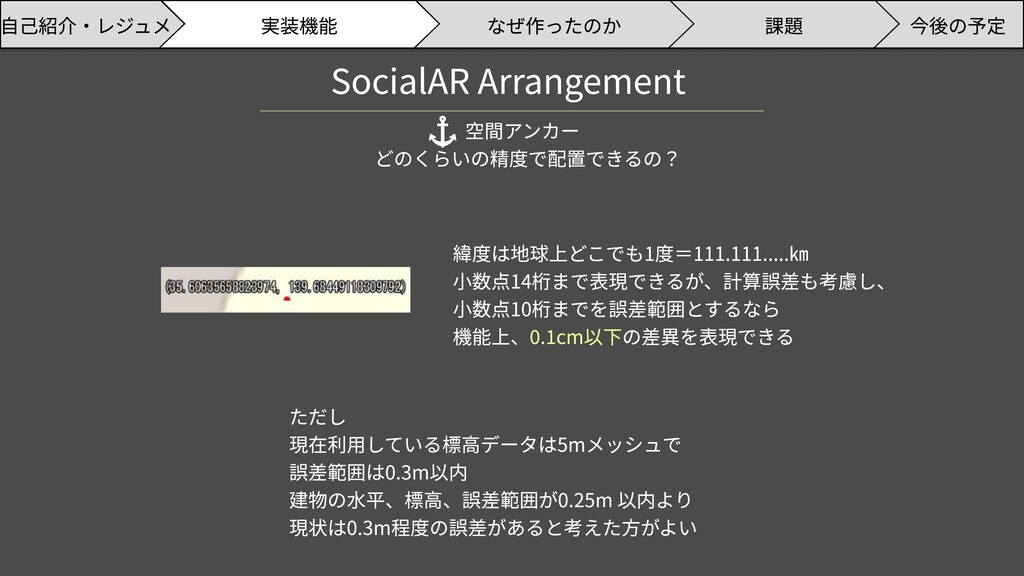 SocialAR Arrangement 空間アンカー どのくらいの精度で配置できるの? 緯度...