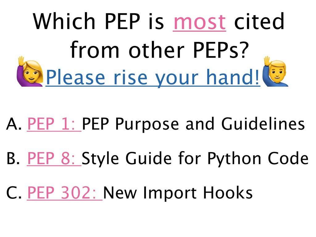 Which PEP is most cited from other PEPs? A. PEP...