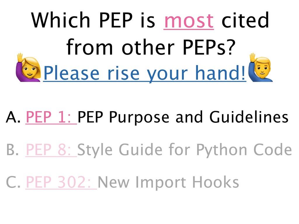 A. PEP 1: PEP Purpose and Guidelines B. PEP 8: ...