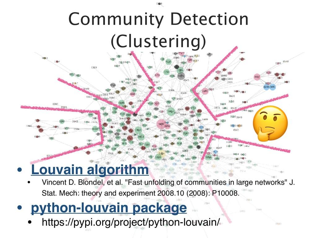 Community Detection (Clustering) . • Louvain al...