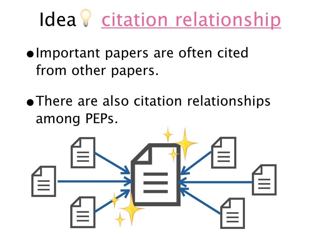 Idea& citation relationship •Important papers a...