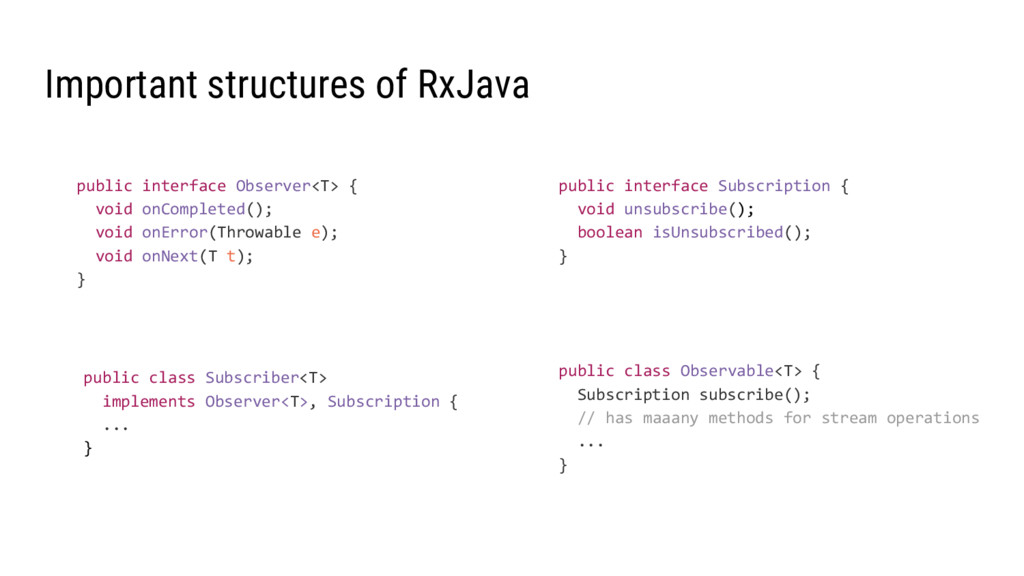 Important structures of RxJava public class Obs...