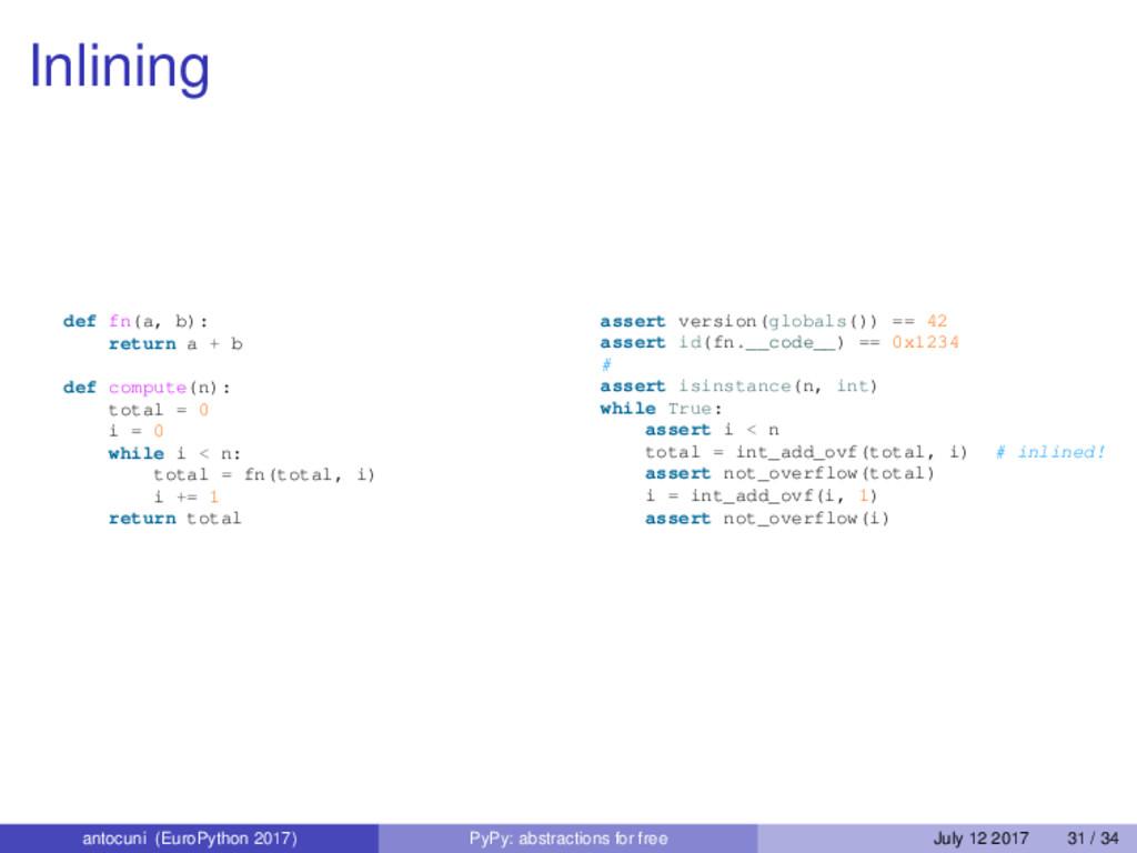 Inlining def fn(a, b): return a + b def compute...