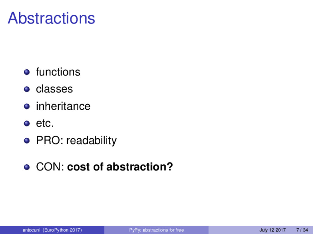 Abstractions functions classes inheritance etc....