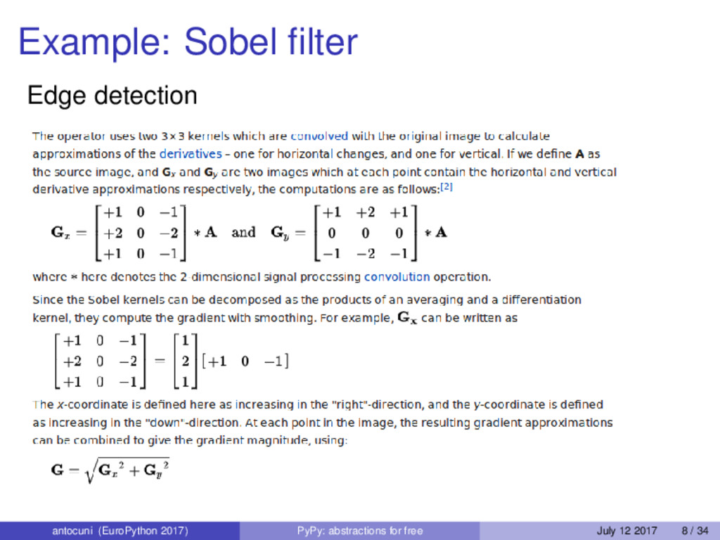 Example: Sobel filter Edge detection antocuni (E...