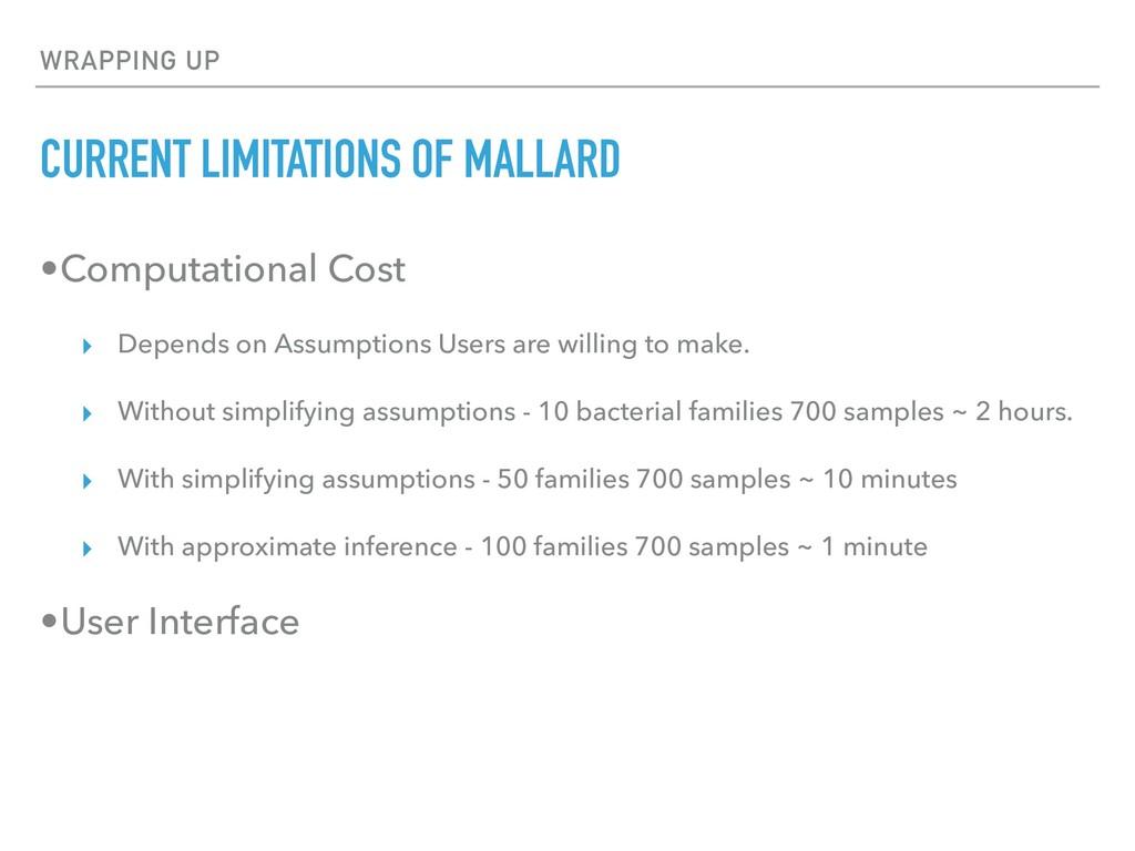 WRAPPING UP CURRENT LIMITATIONS OF MALLARD •Com...