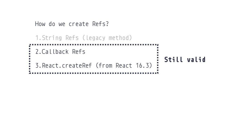 Still valid How do we create Refs? 1.String Ref...