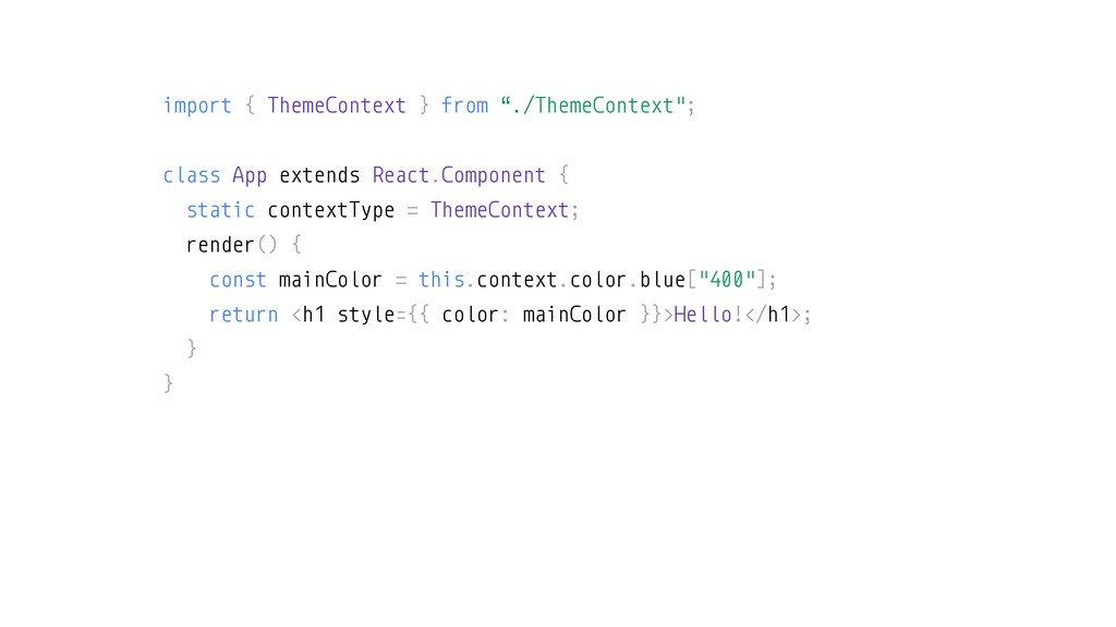 """import { ThemeContext } from """"./ThemeContext""""; ..."""