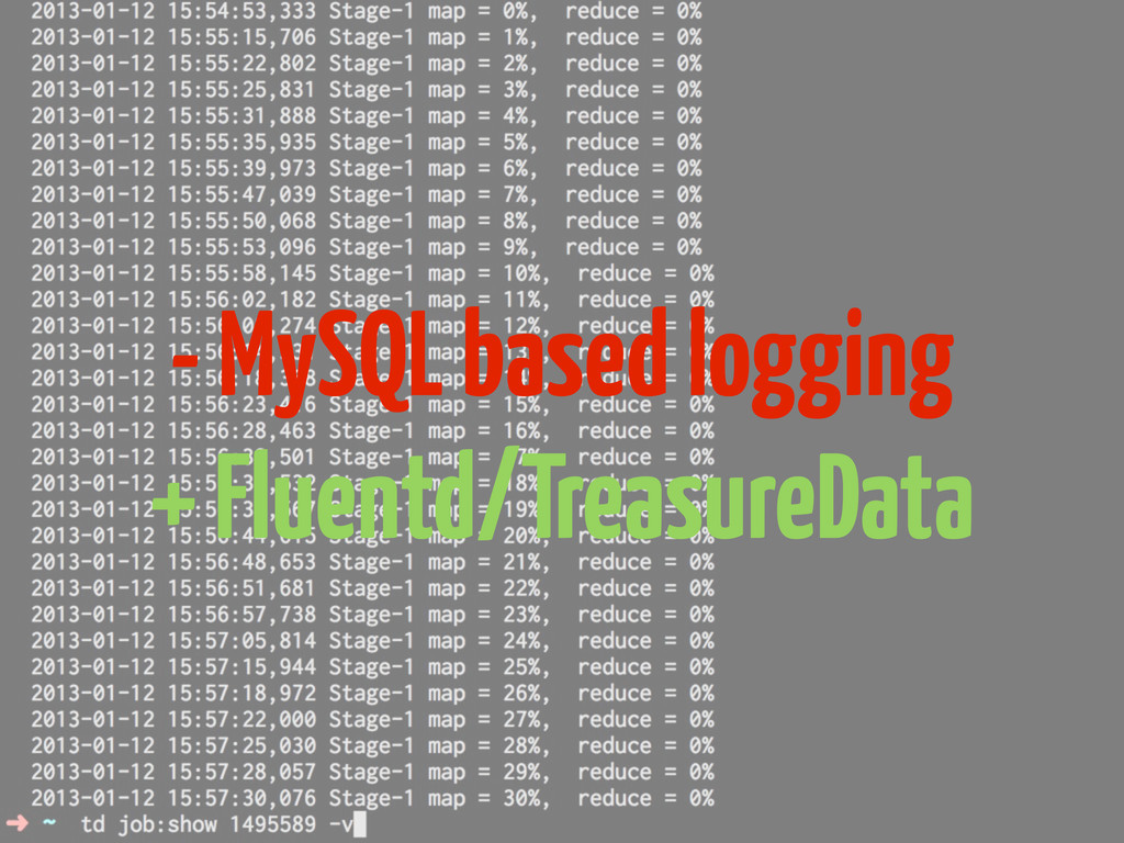 - MySQL based logging + Fluentd/TreasureData