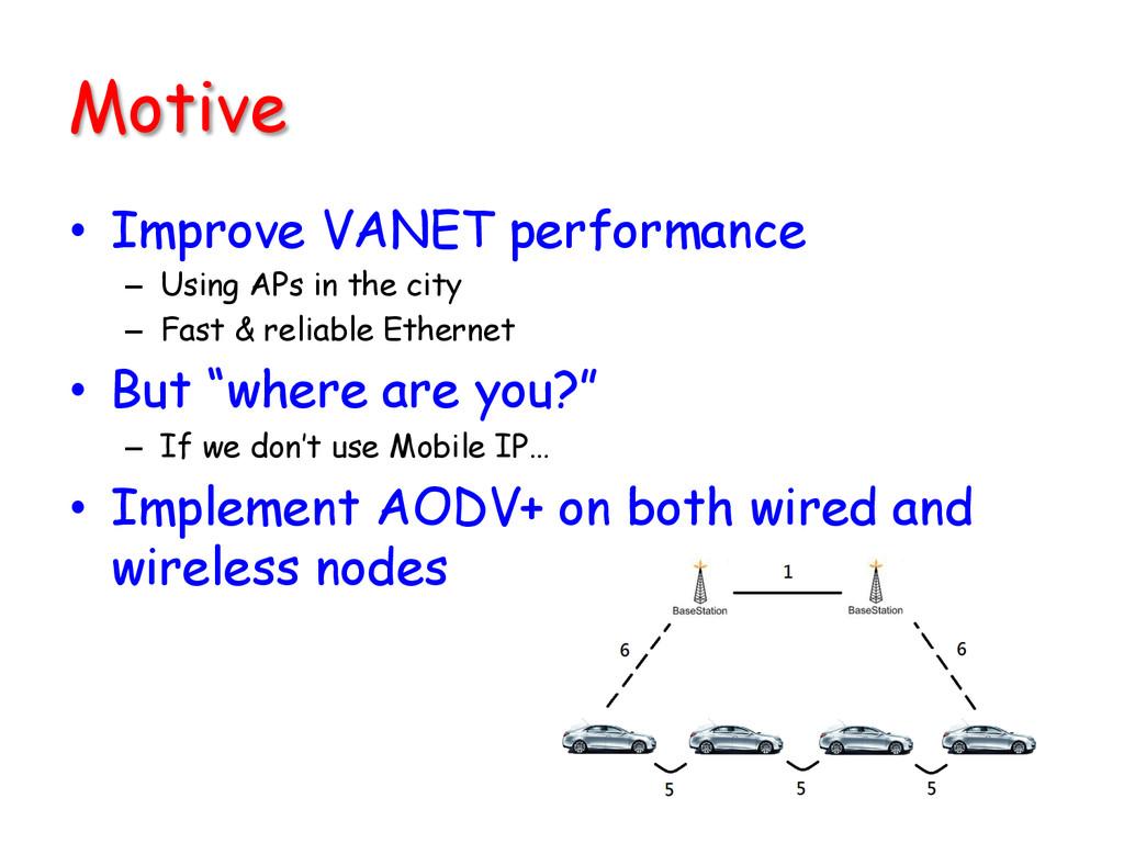 Motive • Improve VANET performance – Using A...