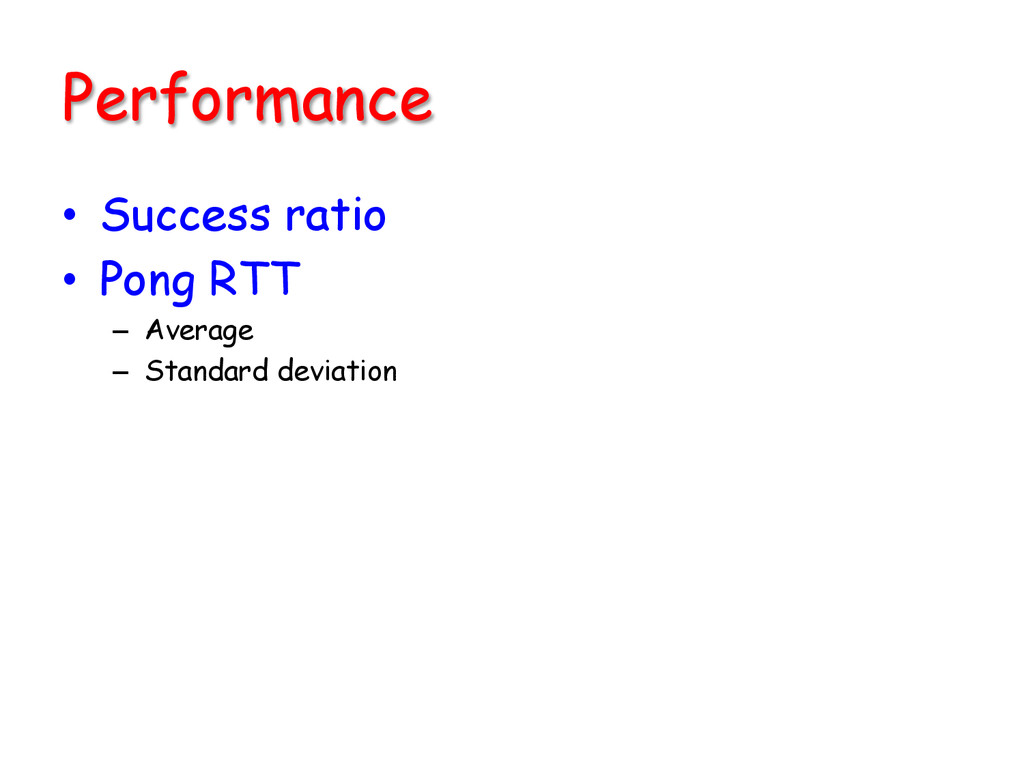 Performance • Success ratio • Pong RTT – A...