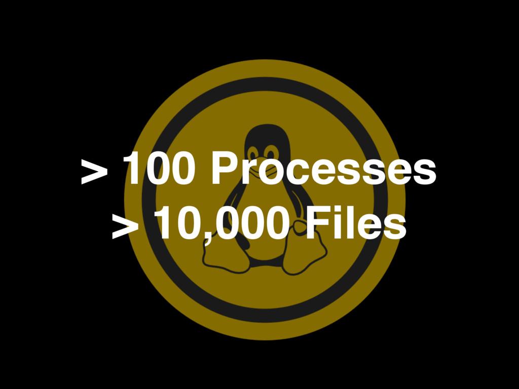 > 100 Processes > 10,000 Files