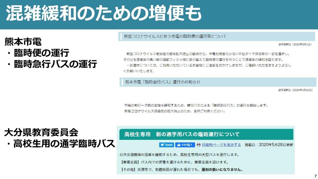 7 混雑緩和のための増便も 熊本市電 ・臨時便の運行 ・臨時急行バスの運行 大分県教育委員会 ...
