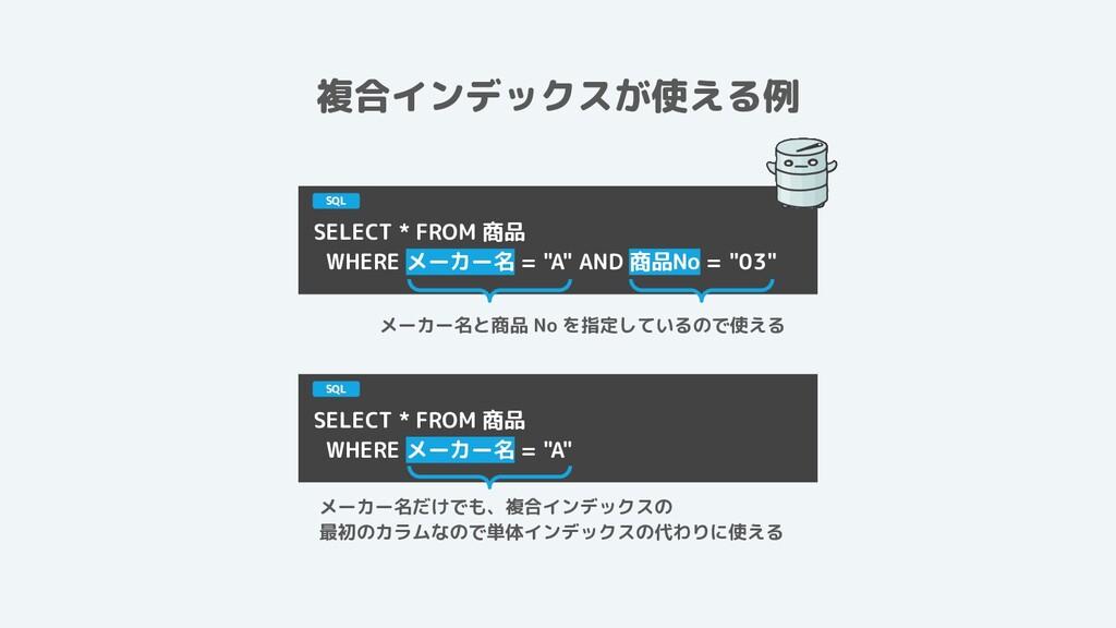 """複合インデックスが使える例 SELECT * FROM 商品 WHERE メーカー名 = """"A..."""