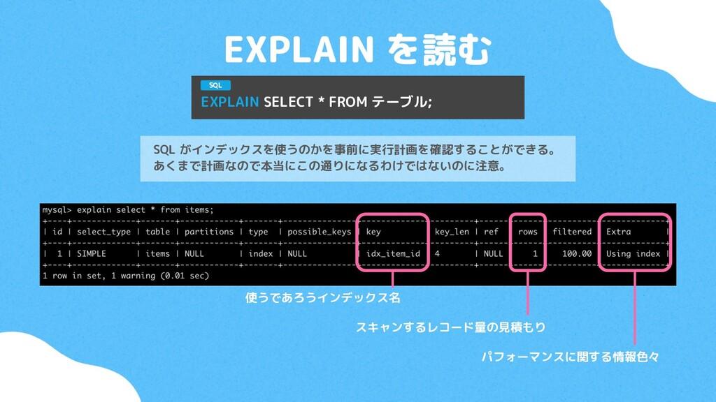 EXPLAIN を読む SQL がインデックスを使うのかを事前に実行計画を確認することができる...