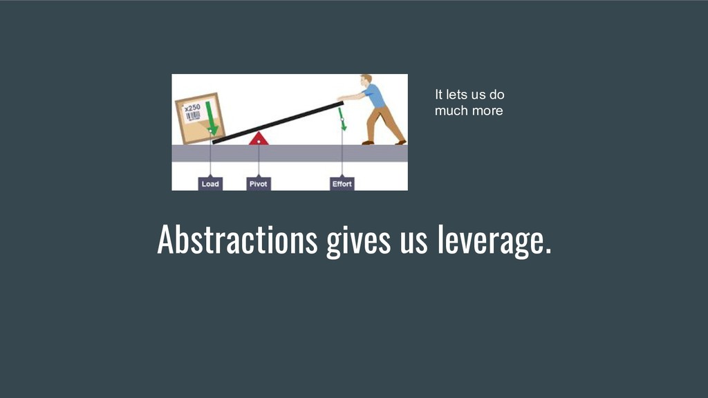 Abstractions gives us leverage. It lets us do m...