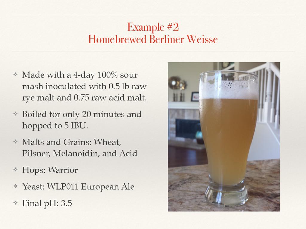 Example #2 Homebrewed Berliner Weisse ❖ Made w...