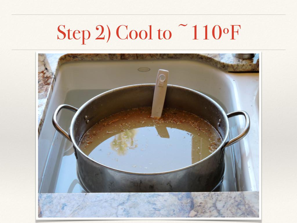 Step 2) Cool to ~110ºF
