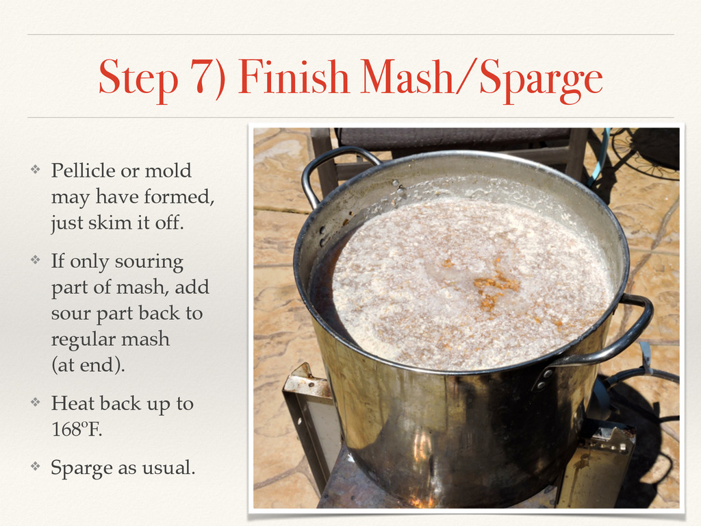 Step 7) Finish Mash/Sparge ❖ Pellicle or mold m...