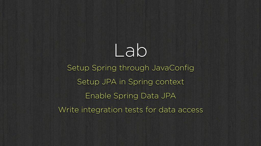 Lab Setup Spring through JavaConfig Setup JPA in...