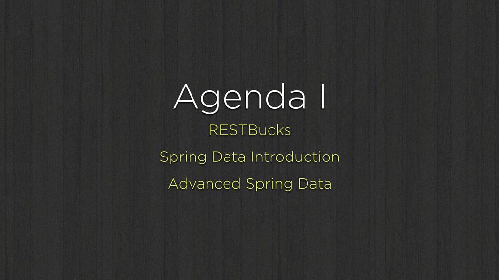 Agenda I RESTBucks Spring Data Introduction Adv...