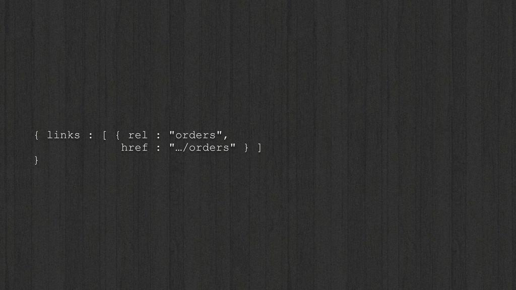 """{ links : [ { rel : """"orders"""", href : """"…/orders""""..."""