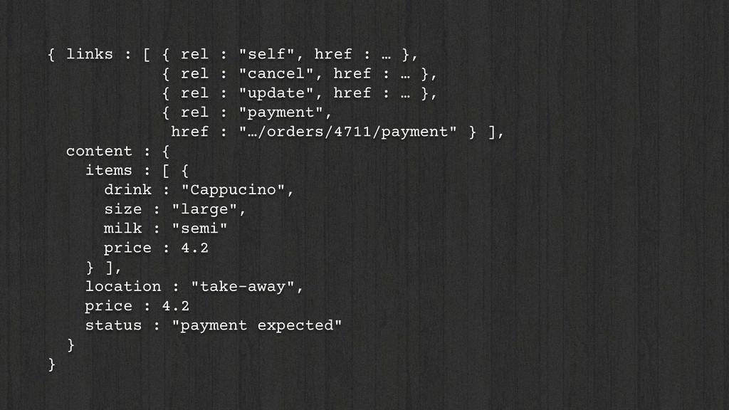 """{ links : [ { rel : """"self"""", href : … }, { rel :..."""