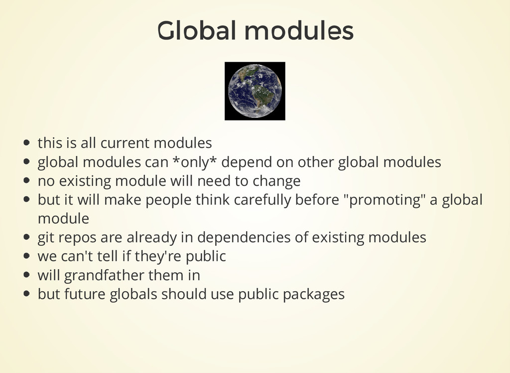 Global modules this is all current modules glob...